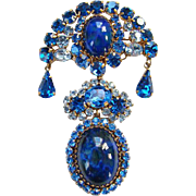 Vintage Made in Austria Sapphire Blue Rhinestone Brooch Cabochon Dangle Signed