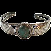 Turquoise Cuff Bracelet Navajo Style Sterling Silver Southwester Tribal Boho Bohemian