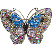 Vintage Butterfly Pin Two Tiers Red Blue Rhinestones Aurora Borealis Silvertone Setting