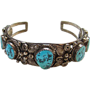 Turquoise Cuff Row Bracelet Navajo Signed AB Sterling Silver Native American Indian Jewelry