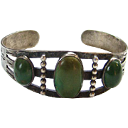 Navajo Style Green Turquoise Cuff Bracelet Sterling Silver Stamp Decoration Southwestern Triba