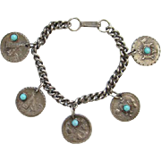 Native American Indian Theme Charm Bracelet Silvertone Turquoise Glass Vintage