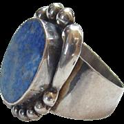 Sterling Silver Ring Blue Lapis Lazuli Stone Marked 925 Size 6.5 Southwestern Boho Bohemian Ch