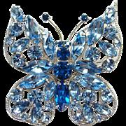 Vintage Sapphire Blue Rhinestone Figural Butterfly Pin Brooch Silvertone Setting