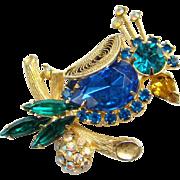 SALE PENDING Juliana Crowned Bird Rhinestone Figural Brooch Pin Blue Teal DeLizza Elster Book