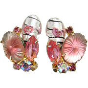 Juliana Pink Pillowcase Sunburst Rhinestone Clip Earrings Blown Glass Drops DeLizza Elster Boo