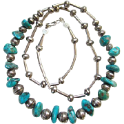 Native American Sterling Silver Turquoise Nugget Necklace Signed BS Southwestern Tribal Indian