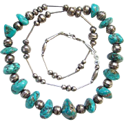 Turquoise Nugget Stamp Decorated Beads Necklace Sterling Silver Signed ASB Southwestern Tribal