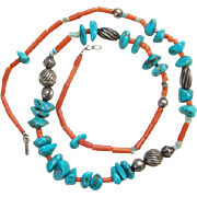 Turquoise Nugget Coral Sterling Bead Necklace Southwestern Tribal Style Bohemian Boho Chic