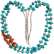 Turquoise Nugget Coral Heishi Bead Necklace Two Strand Southwestern Tribal Indian Jewelry Bohe
