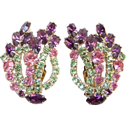 Rhinestone Clip Earrings Amethyst Pink Light Green Large Size Gorgeous