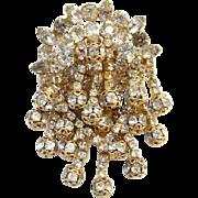 Clear Rhinestone Pendant Brooch Elaborate Three Layers Goldtone Filigree Rondels