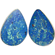 Sterling Silver Clip Earrings Azurite Malachite Blue Green Conjoined NG Mark