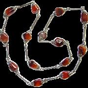 Art Deco Czech Glass Flapper Length Link Necklace Topaz Beads Filigree End Caps Silvertone ...