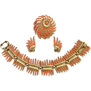 SALE PENDING 1957 Crown Trifari Whirlwind Bracelet Brooch Earrings Rare Coral Version Book Pie