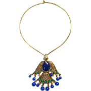 Vintage Egyptian Style Blue Green Peacock Pendant Necklace on Monet Goldtone Collar Runway ...