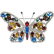Multicolor Rhinestone Figural Butterfly Brooch Pin Silvertone Setting Red Yellow Blue Green ..