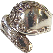Alvin Sterling Silver Bypass Spoon Ring French Scrolls Size 7