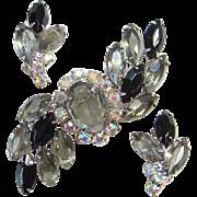 Black Diamond Rhinestone Brooch Clip Earrings Set Aurora Borealis Unsigned