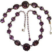 Amethyst Lavender Graduated Rhinestone Bracelet Choker Necklace Set Gilt Setting Costume ...