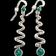 Sterling Silver Green Malachite Pierced Earrings Dangle Drop Spiral