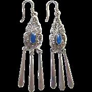 Sterling Silver Lapis Dangle Pierced Earrings Vintage Bohemian Hippie Style