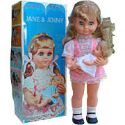 Wah Sang 1970s Jane and Jenny Key Wind Musical Doll with Baby Mint in Original ...