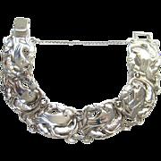 Coro Norseland Bird Bracelet Sterling Silver Jensen Danish Inspired C1940s Arts & Craft Flair
