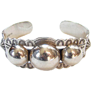 Sterling Silver Cuff Bracelet Stamp Decorated 3 Orbs Southwestern Tribal Native American Boho