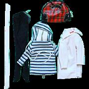 Barbie Doll Winter Holiday Stretch Pants Hooded Shirt Car Coat Plaid Bag 1959-63 Pristine ...