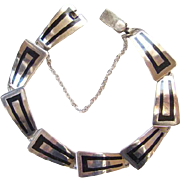 SALE PENDING Taxco Mexico Sterling Silver Overlay Link Bracelet Abstract Design Marked JSF Hec