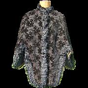 Victorian Ladies Black Velvet Brocade Walking Capelet Silk Fringe Trim