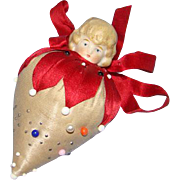 Old Silk Sewing Strawberry Pin Cushion German Porcelain Bisque Doll Head Needlework Tool Pins