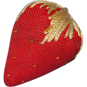 Sewing Emery Strawberry Pin Cushion Hand Embroidered Seeds Leaves Victorian Old