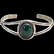Sterling Silver Green Malachite Cuff Bracelet Signed M Ortiz