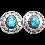 Turquoise Sterling Silver Clip Earrings Signed E.M. White Southwestern Boho Bohemian