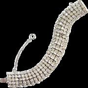 1940s Weiss Clear Rhinestone Bracelet 5 Row Clear Rhinestone Silvertone Signed