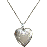 Vintage Sterling Silver Heart Pendant Locket Repousse Decoration on 18 Inch Sterling Chain