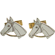 Figural Horse Cuff Links Vintage 1950s White Enamel Goldtone Marked Pat Pend