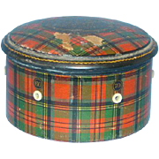 Tartan Ware Prince Charlie Plaid Spool Thread Holder Box George Clark Mauchline 19thC