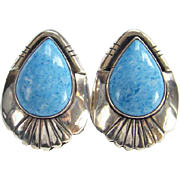 Denim Lapis Earrings Sterling Silver Pierced Post Marked Vintage Boho Bohemian