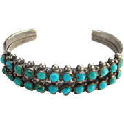 Zuni Indian Turquoise Cuff Bracelet Two Lines Sterling Silver Southwestern Tribal Boho Bohemia