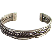 Tahe Navajo Sterling Silver Cuff Bracelet Twisted Wire Cable Native American Signed Boho ...