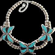 Turquoise Onyx Butterfly Necklace Navajo Style Southwestern Tribal Boho Bohemian