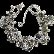 Juliana DeLizza Elster Clear and Black Diamond Rhinestone Cluster Bracelet 5 Link D & E ...