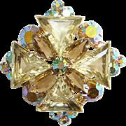 Juliana DeLizza Elster Jonquil Yellow Triangle Aurora Borealis Rhinestone Pendant Brooch Pin .