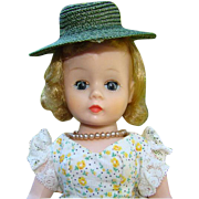 1958 Cissette Doll in Yellow Green Print Calico Tagged Dress Hat Madame Alexander