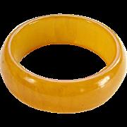 Art Deco Bakelite Bangle Bracelet Marbled Butterscotch Egg Yolk Yellow C1930s