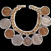 Old US Coin Money Charm Bracelet Wheat Penny Buffalo Jefferson Nickel Mercury Dime 1940-1961