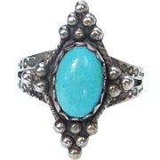 Turquoise Ring Sterling Silver Size 5.75 Southwestern Tribal Boho Bohemian